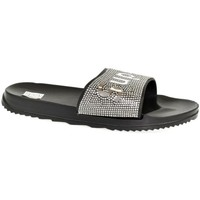Topánky Ženy športové šľapky John-C Dámske čierno-strieborné šľapky SUPER čierna