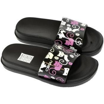 Topánky Dievčatá športové šľapky John-C Detské čierne šľapky MURA čierna