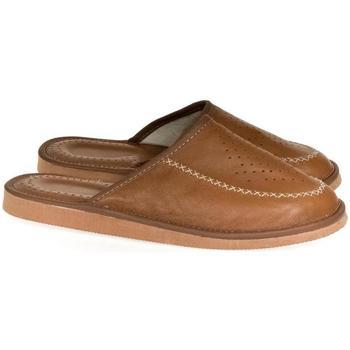 Topánky Muži Papuče John-C Luxusné pánske hnedé kožené papuče JOSEL ťavia