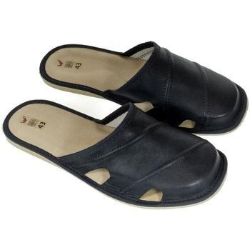 Topánky Muži Nazuvky John-C Pánske kožené tmavo-modré papuče RIK tmavomodrá