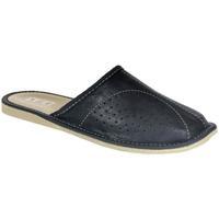 Topánky Muži Nazuvky John-C Pánske kožené tmavo-modré papuče RICH tmavomodrá