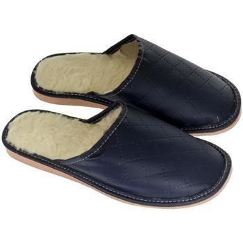 Topánky Muži Papuče John-C Pánske tmavo-modré papuče LINES tmavomodrá