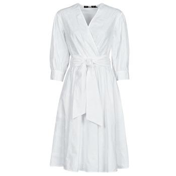 Oblečenie Ženy Krátke šaty Karl Lagerfeld LOGO EMROIDERED SHIRT DRESS Biela