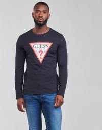 Oblečenie Muži Tričká s dlhým rukávom Guess CN LS ORIGINAL LOGO TEE Námornícka modrá