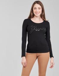 Oblečenie Ženy Tričká s dlhým rukávom Guess LS CN RAISA TEE Čierna
