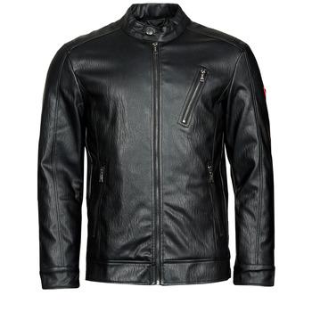 Oblečenie Muži Kožené bundy a syntetické bundy Guess PU LEATHER BIKER Čierna
