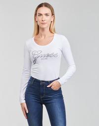 Oblečenie Ženy Tričká s dlhým rukávom Guess LS CN RAISA TEE Biela