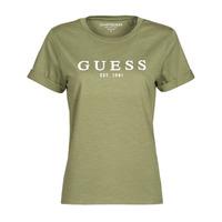 Oblečenie Ženy Tričká s krátkym rukávom Guess ES SS GUESS 1981 ROLL CUFF TEE Kaki
