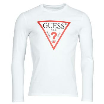 Oblečenie Muži Tričká s dlhým rukávom Guess CN LS ORIGINAL LOGO TEE Biela