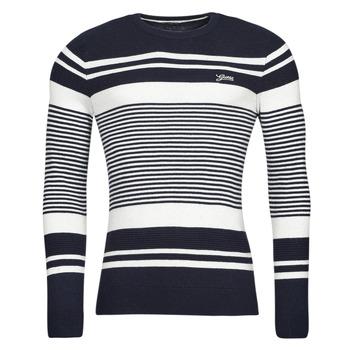 Oblečenie Muži Svetre Guess LONDON EMBOSSED STRIPED CN Modrá