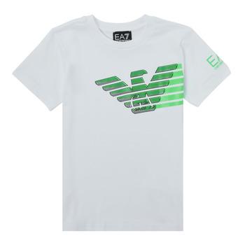 Oblečenie Chlapci Tričká s krátkym rukávom Emporio Armani EA7 THAMIA Biela / Zelená