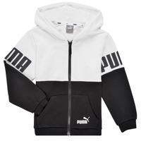 Oblečenie Chlapci Mikiny Puma PUMA POWER FZ HOODIE Čierna / Biela