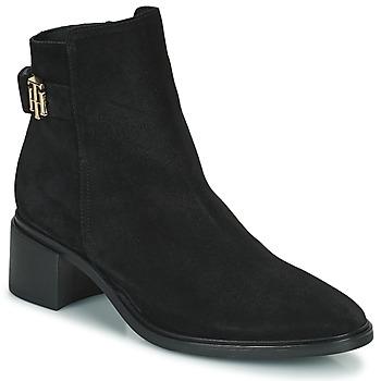 Topánky Ženy Polokozačky Tommy Hilfiger HARDWARE TH MID HEEL BOOT Čierna