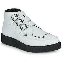 Topánky Polokozačky TUK POINTED CREEPER 3 BUCKLE BOOT Biela