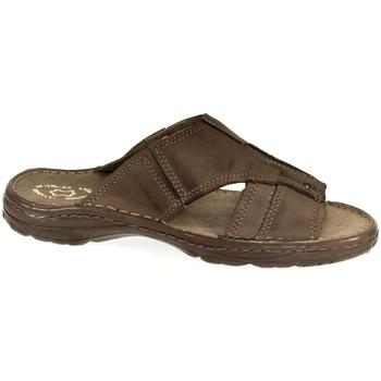 Topánky Muži Šľapky John-C Pánske kožené hnedé šľapky TISO hnedá