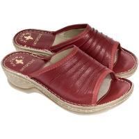Topánky Ženy Šľapky John-C Dámske kožené červené šľapky MONTY červená