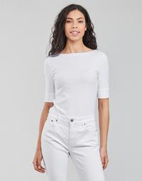 Oblečenie Ženy Tričká s dlhým rukávom Lauren Ralph Lauren JUDY-ELBOW SLEEVE-KNIT Biela