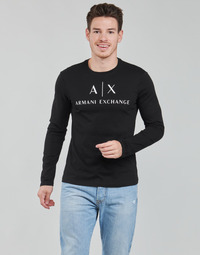 Oblečenie Muži Tričká s dlhým rukávom Armani Exchange 8NZTCH Čierna