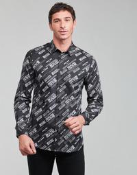 Oblečenie Muži Košele s dlhým rukávom Versace Jeans Couture SLIM PRINT WARRANTY Čierna / Biela