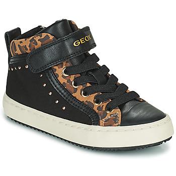Topánky Dievčatá Členkové tenisky Geox KALISPERA Čierna / Leopard
