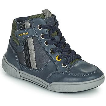 Topánky Chlapci Členkové tenisky Geox POSEIDO Námornícka modrá / Zelená