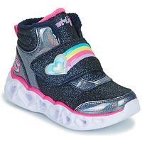 Topánky Dievčatá Členkové tenisky Skechers HEART LIGHTS Námornícka modrá / Led