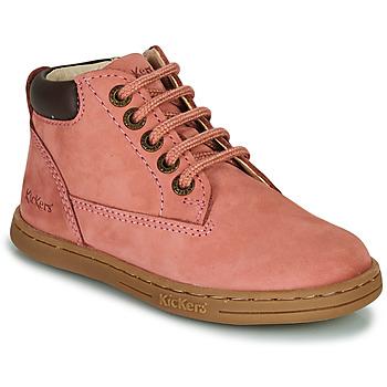 Topánky Dievčatá Polokozačky Kickers TACKLAND Ružová