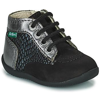 Topánky Dievčatá Polokozačky Kickers BONZIP-2 Čierna / Strieborná