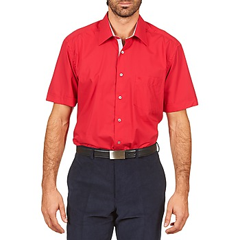 Oblečenie Muži Košele s krátkym rukávom Pierre Cardin CH MC POPELINE UNIE - OPPO RAYURE INTERIEUR COL & POIGNET Ružová / červená