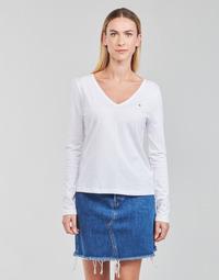 Oblečenie Ženy Tričká s dlhým rukávom Tommy Hilfiger REGULAR CLASSIC V-NK TOP LS Biela