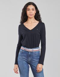 Oblečenie Ženy Tričká s dlhým rukávom Tommy Hilfiger REGULAR CLASSIC V-NK TOP LS Námornícka modrá
