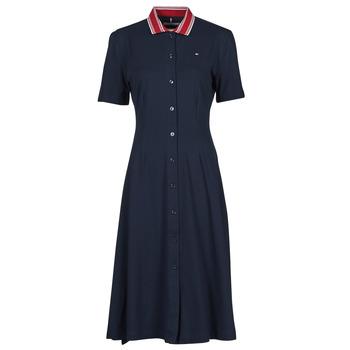 Oblečenie Ženy Krátke šaty Tommy Hilfiger PIQUE F&F MIDI POLO DRESS SS Námornícka modrá