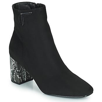 Topánky Ženy Čižmičky The Divine Factory QL4534 Čierna / Hadí vzor