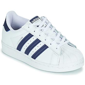 Topánky Deti Nízke tenisky adidas Originals SUPERSTAR C Biela / Modrá