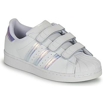 Topánky Deti Nízke tenisky adidas Originals SUPERSTAR CF C Biela / Strieborná