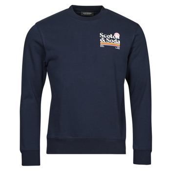 Oblečenie Muži Mikiny Scotch & Soda LOGO ARTWORK MELANGE FELPA Námornícka modrá