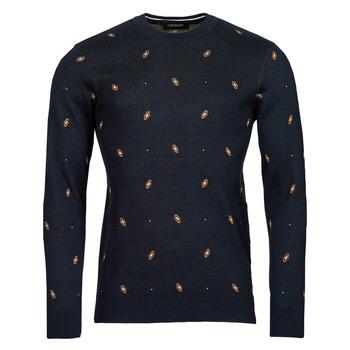 Oblečenie Muži Svetre Scotch & Soda JACQUARD CREWNECK PULLOVER Námornícka modrá