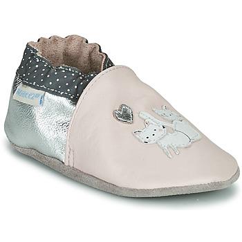Topánky Dievčatá Detské papuče Robeez CAT FRIENDS Ružová / Strieborná
