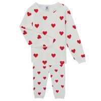Oblečenie Dievčatá Pyžamá a nočné košele Petit Bateau CASSANDRE Biela / Červená