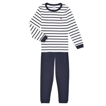 Oblečenie Chlapci Pyžamá a nočné košele Petit Bateau TECHI Biela / Modrá