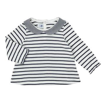 Oblečenie Dievčatá Tričká s dlhým rukávom Petit Bateau HOLINU Biela / Modrá