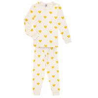 Oblečenie Dievčatá Pyžamá a nočné košele Petit Bateau LERINU Biela / Žltá
