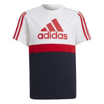 Oblečenie Chlapci Tričká s krátkym rukávom adidas Performance GUILIA Biela / Námornícka modrá