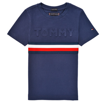 Oblečenie Chlapci Tričká s krátkym rukávom Tommy Hilfiger ELEONORE Námornícka modrá