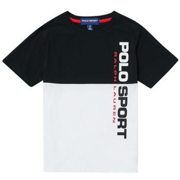 Oblečenie Chlapci Tričká s krátkym rukávom Polo Ralph Lauren KAMILA Biela / Čierna