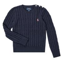 Oblečenie Dievčatá Svetre Polo Ralph Lauren PETILA Námornícka modrá