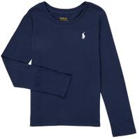 Oblečenie Dievčatá Tričká s dlhým rukávom Polo Ralph Lauren TENINA Námornícka modrá