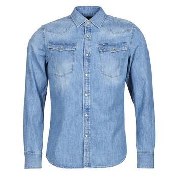 Oblečenie Muži Košele s dlhým rukávom G-Star Raw 3301 SLIM SHIRT LS Modrá