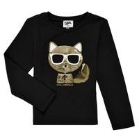 Oblečenie Dievčatá Tričká s dlhým rukávom Karl Lagerfeld AMETHYSTE Čierna