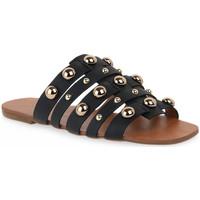 Topánky Ženy Šľapky Miss Unique UNIQUE OURO CALF PRETO BORCHIE Dorato